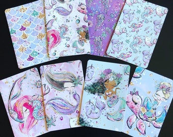Mermaids & Sea Friends TN Collection - Travelers Notebook Laminated Dashboards - Choose POCKET, PERSONAL, B6, or A5 Size