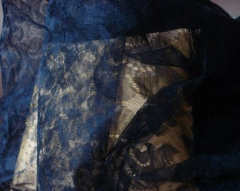Beautiful vintage Black Lace, flowers and foliage print / very wide.