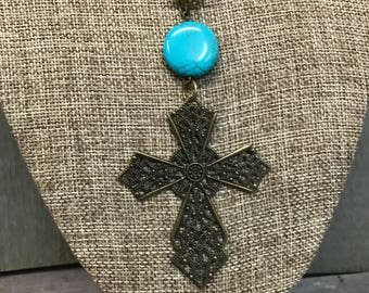 Antique Bronze Filigree Cross Necklace, Handcrafted Jewelry, Laser Engraved, Customized Jewelry, Bursting Barns Designs