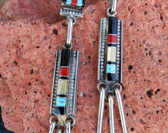 ZUNI CHANDELIER EARRINGS,Turquoise Inlay by L Bowannie Shewe, Signed & Stamped Sterling