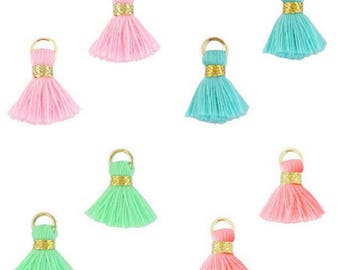 Beaded tassels, tassels, tassel pendant-1.5 cm-3 pcs.-Color selectable (color: orange 2)