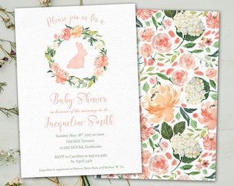 Bunny Baby Shower Invitation / Spring Baby Shower Invitation / Floral Bunny Baby Shower Invitation / DIY Printable