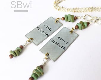 2 'soul sisters' necklaces in pewter with african turquoise detail