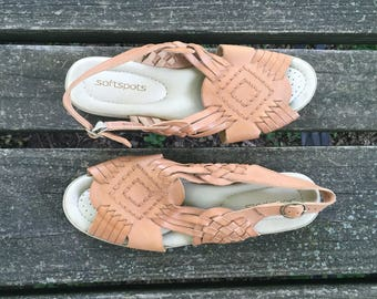 Sandals - Size 8 Tan Huaraches Leather Ankle Strap Softspots Womens 7