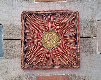 Summer Solstice altar decor, Midsummer ritual decor, Litha sun ritual, sunburst altar plate, vintage pagan finds, vintage flower mat,