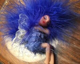 OOAK Fairy Sleeping Royal cobalt Blue Handmade Clay Art Doll