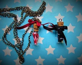 Sugar cane / oreo mini bottle necklace pendant
