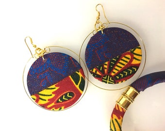 Purple red African earrings and bracelet, African jewellery, ankara jewellery set, hoop earrings, African bracelet, UK free shipping