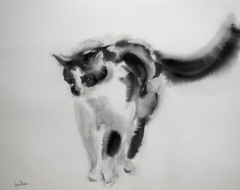 Little tuxedo cat - original watercolor painting, gift for cat lovers