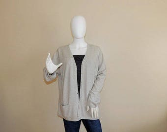Vtg Peter Hahn Silk Cashmere Cardigan, Light Gray Buttoned Sweater, Soft Cashmere Jumper with Pockets, Casual Office Grey Blazer