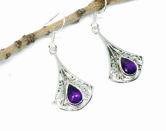 Amethyst earrings set sterling silver 925 Natural authentic amethyst stones perfectly matched .