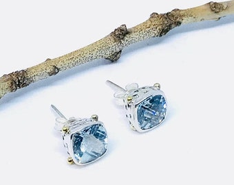 10% Blue Topaz stud earrings set in sterling silver 925. Stone -8mm square cushion. Natural authentic blue topaz stones. Perfectly matche