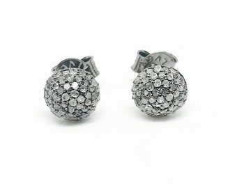 10% Pave Diamond ball stud earring set in sterling silver(92.5). 6, 8, 10mm.Natural authentic diamonds- .39carats.