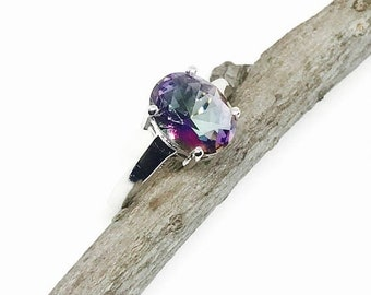 10% Mystic topaz ring set in sterling silver 925. Rainbow mystic stone .