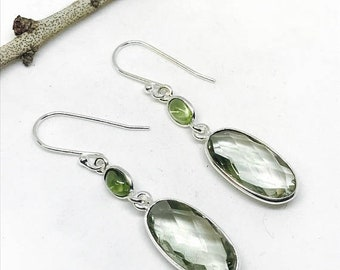 10% Green amethyst, peridot earrings set in sterling silver 92.5. Natural authentic stones. Perfectly matched