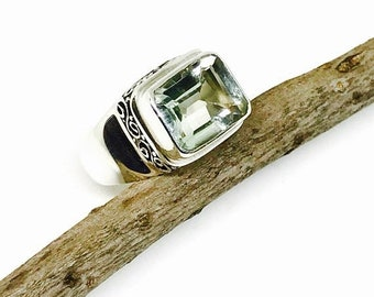 10% Green amethyst ring set in sterling silver 925. Genuine natural faceted cut green amethyst stone. Size-7