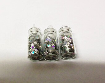 1fiole glass topped 28X11X11mm sequins stars color silver