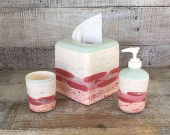 bathroom accessories set liquid soap holder toothbrush holder cup tissue box cover vintage ceramic bathroom set