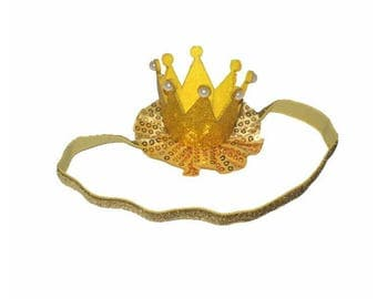 Shinny Powder Stereo Pearl Crown Hair Band , Elastic Headband , 1st Birthday Crown Headband , Newborn Headband -- YTD08