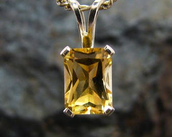 Genuine citrine pendant, citrine necklace, citrine pendant 8x6 mm, jewelry pendant with genuine citrine yellow sterling silver