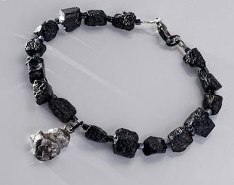 Meteorite Bracelet, Men's Black Obsidian Bracelet, Stardust Space Jewelry, Birthday Anniversary Father's Day Gift for Dad Boyfriend Husband