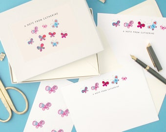 Personalised Butterflies Notecards Writing Set