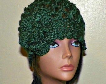 On Sale- Green Cloche Hat Flapper Womens Downton Abby Freeform Beanie Crochet Gatsby Bucket 1920s Style