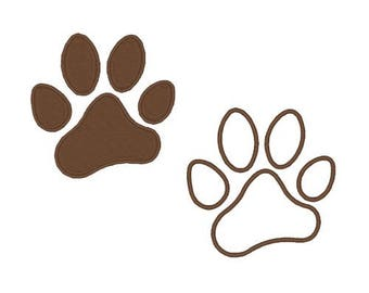 Paw Print Machine Embroidery Designs Paw Print Embroidery Design Dog Design Applique Filled Stitch 4X4 5X7 6X10 8X8 Instant Download