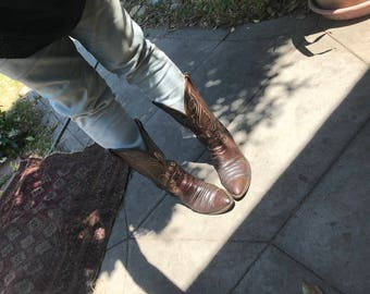 Kickass Vintage Exotic Brown Leather Boots Size 10 1/2D  Cowboy Boots Size 12 1/2 Cowgirl Boots