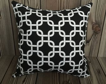 Black Throw Pillow, Toss Pillow, Decorative Pillow, Pillow Cover, Cushion Cover, Gotcha Pattern ~ 18in x 18in ~ Envelope Closure