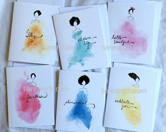 Empowered Woman Notecard Set -  6 Notecards  FREE SHIPPING