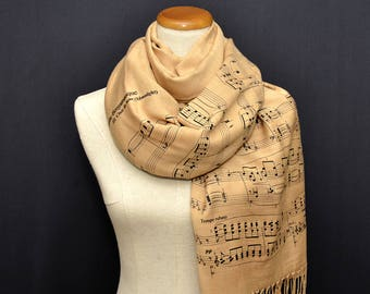 Music Scarf, Claude Debussy, Frederic Chopin, Antonio Vivaldi, Johann Pachelbel, Schubert, J.S. Bach, R.Wagner, P.I. Tschaikowsky, Beethoven