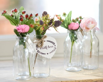 Stuck On You Trio Of Mini Vintage Style Milk Bottle Bud Vases | Perfect Wedding Table Centrepiece | Vases for flower buds