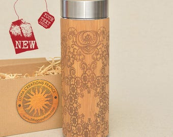 Customized Thermos Engraved Bamboo Wood FLORAL MANDALA Stainless Steel with Screw Lid