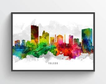 Toledo Ohio Skyline Poster, Toledo Cityscape, Toledo Print, Toledo Art, Toledo Decor, Home Decor, Gift Idea, USOHTO12P