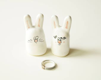 Bunny Wedding Cake Topper, Ceramic Cake Topper, White Bunny, Bride and Groom Wedding Cake Topper, Cake Topper by Her Moments