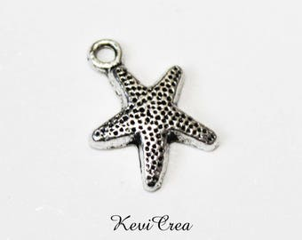 Star 10 x charms Starfish silver metal