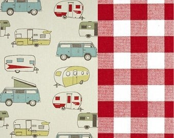 Vintage Camper Formica and Plaid Duvet Boys Bedding Set - Duvet Cover with Matching Shams - Toddler, Dorm Twin, Twin and Full/Queen