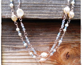 Bridal jewelry pearl necklace rose gold czech glass bead handmade necklace freshwater pearl blue bead faceted bead silver bead peach pearl