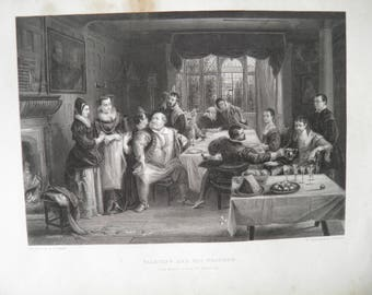 Shakespeare Falstaff The Merry Wives of Windsor by D Maclise Antique Art Print