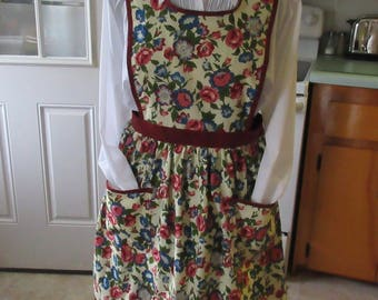 Granny Apron Cream with blue, pink flowers hand made in Maine