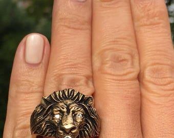 14K Yellow Gold Diamond Lion BaumF Baumstein Feder Designer Mens Gents Ring