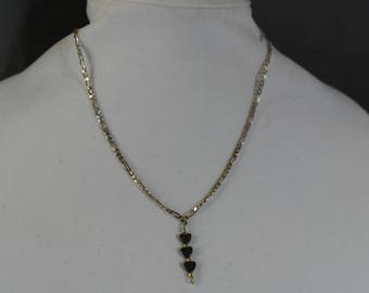 Hematite hearts on a silver chain