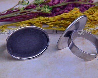 5 Supports Cabochon 18x25mm (T077) Antique silver ring set