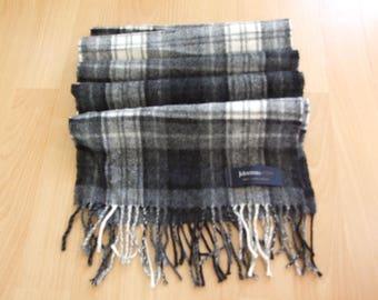 Vintage Johnstons of Elgin Scotland Tartan Winter Scarf 100% Lambswool, Gray & Black Checked Pattern scarf, Designer Scarf, Mint
