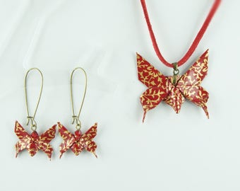 Origami paper red Butterfly pendant and earrings set