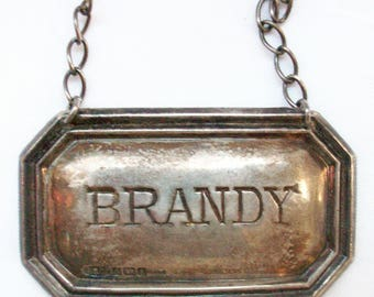 Antique English Sterling Silver Brandy Decanter Necklace - Tag - Label - Plaque - Broadway & Co. Silversmiths 1915 - Free Shipping USA