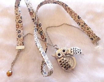 Beige Liberty OWL Silver Pocket Watch necklace