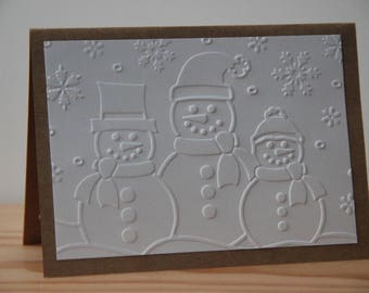 10 Embossed Snowman Cards. Kraft Snowman Cards. Rustic Winter Cards. Blank Snowman Note Cards.  Snowman Thank You Cards. Snowman Invitations