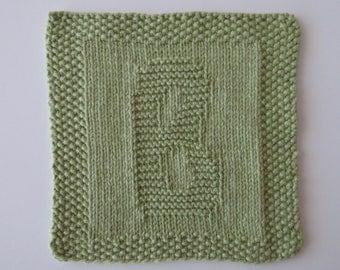 "Dishcloth, Washcloth, ""B"", Personalized, Hand Knit, Cotton"
